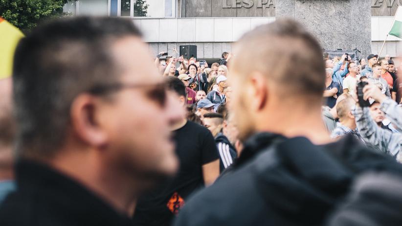 Rechtsruck: Eine Szene in Chemnitz während der Demonstration der rechten Bürgerbewegung Pro Chemnitz am 27. August 2018