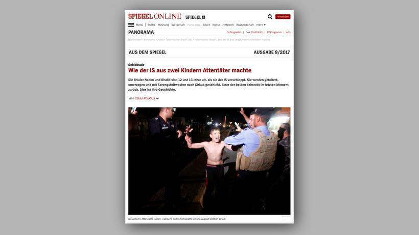 Claas Relotius : Claas Relotius' Reportage über zwei Jungen in der Macht der Terrormiliz IS