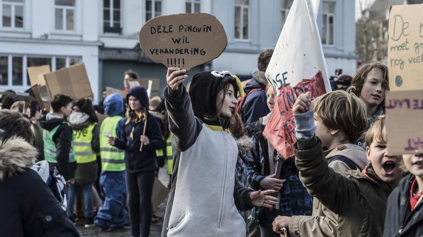 """""""Fridays for Future"""": Eine Schülerin der Protestgruppe 'Youth For Climate' demonstriert im belgischen Gent für besseren Klimaschutz."""
