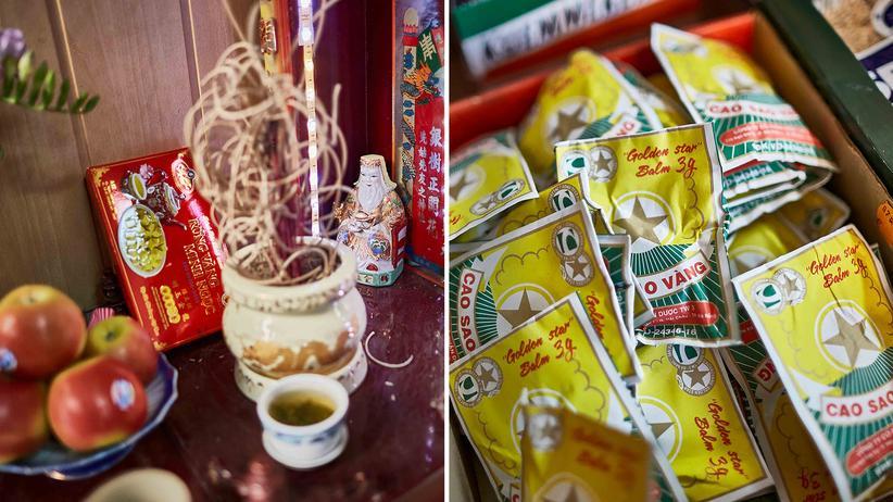 Vietnamesen in Ostdeutschland: In vielen ostasiatischen Läden steht ein kleiner Altar. Anders als der private Altar, der den Ahnen gewidmet ist, soll der öffentliche Altar ein gutes Geschäft bringen.