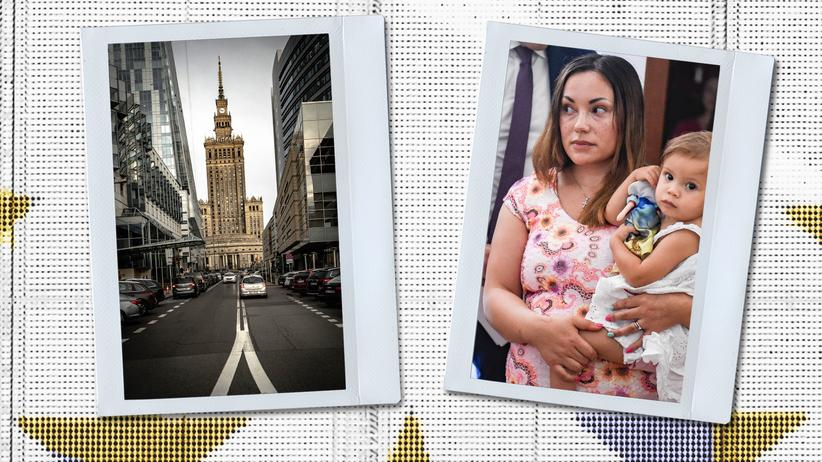 Fleeing Norway: Left: Warsaw, where Silje Garmo was granted asylum. Right: Mother and daughter