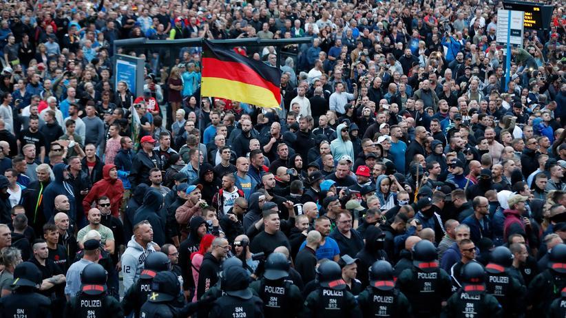 Chemnitz-Prozess: Rechte Demonstranten in Chemnitz am 27. August 2018