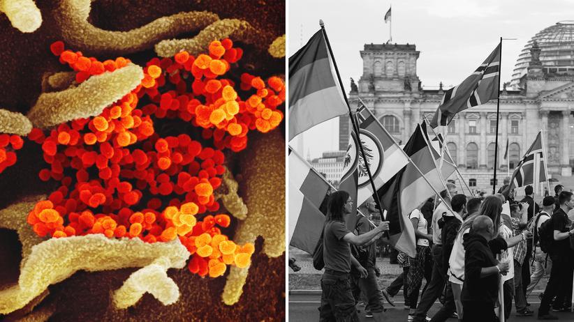 Corona-Krise: rechts: Pegida-Anhänger bei einer Demonstration vor dem Berliner Reichstag