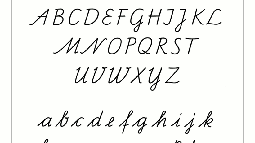 Schreibschrift: Die Schulausgangsschrift, 1968 in der DDR eingeführt. Sie wird auch in vielen westlichen Bundesländern verwendet.