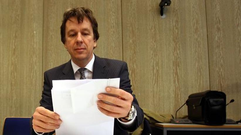 Jörg Kachelmann während einer Verhandlung am Landgericht Mannheim