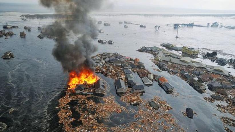 Erdbeben Japan: Riesige Flutwelle spült Trümmer übers Land