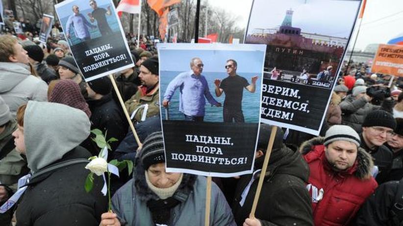 Russland: Demonstranten in Moskau