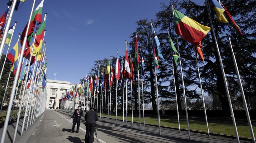 Vereinte Nationen: Vor dem UN-Gebäude in Genf