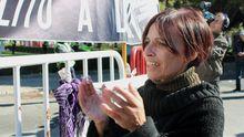 Maria do Carmo während der Proteste in Lissabon