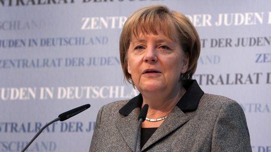 Angela Merkel bei ihrer Rede vor der Ratsversammlung des Zentralrats der Juden in Frankfurt a. Main