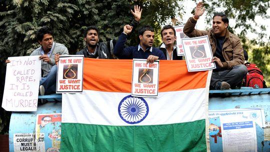 Demonstranten in Neu Delhi