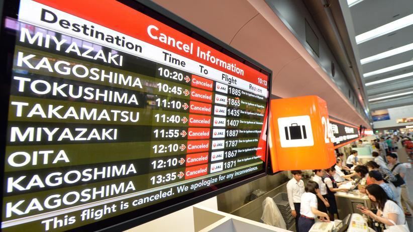 Gestrichene Flüge am Flughafen Haneda in Tokio