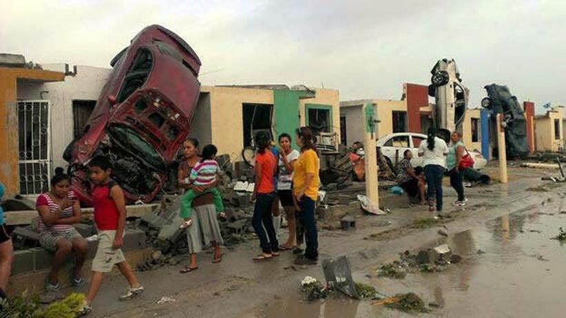 Unwetter: Ein heftiger Tornado verwüstete die mexikanische Grenzstadt Ciudad Acuña.
