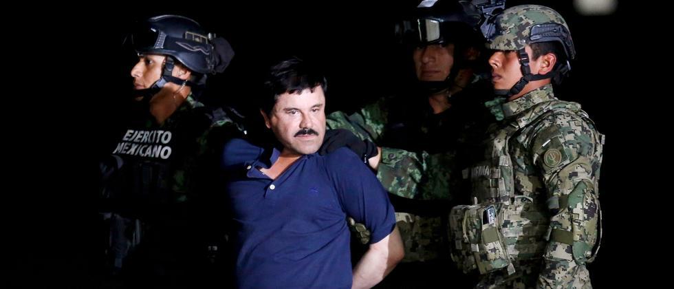 "Drogenbaron Joaquín ""El Chapo"" Guzmán nach seiner Festnahme"