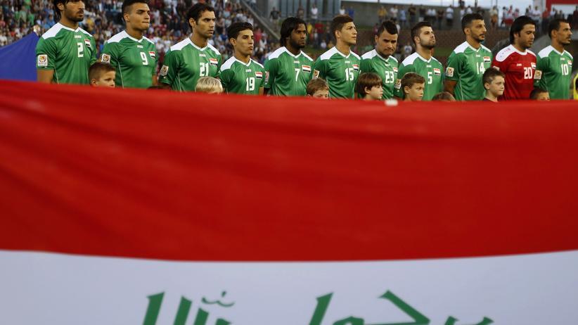 Terror: Iraks Fußball-Nationalmannschaft bei einem Länderspiel im Januar 2015