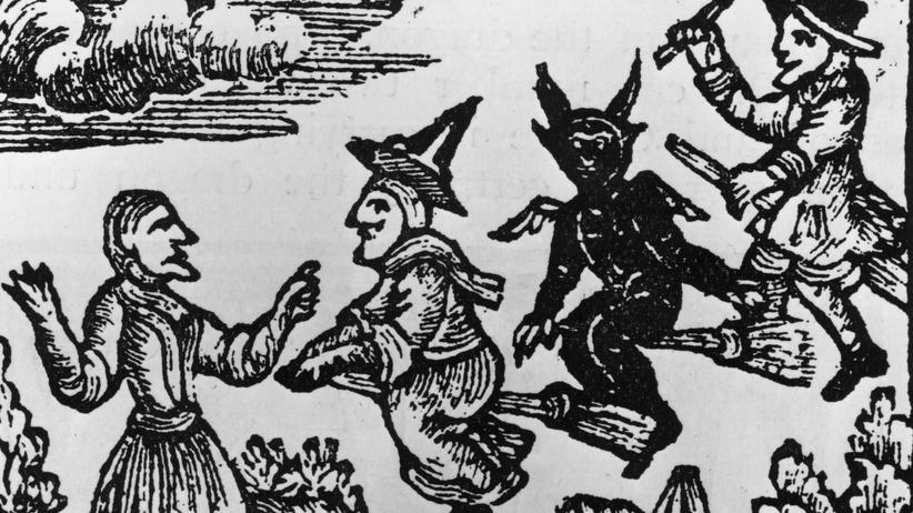 Familiengeschichte: Ein Holzschnitt von ca. 1400 zeigt eine Hexe, einen Dämon und einen Hexenmeister.