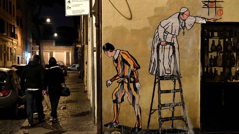 Jahr der Barmherzigkeit: Dieses Graffito in Rom zeigt Papst Franziskus noch als mutigen Rebellen. Es wurde innerhalb kürzester Zeit entfernt.