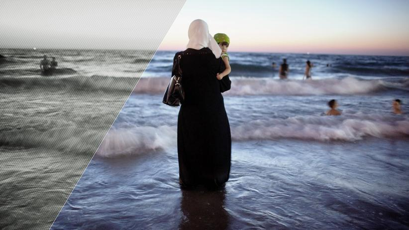 Islam in den Medien: Eine Palästinenserin am Strand von Tel Aviv