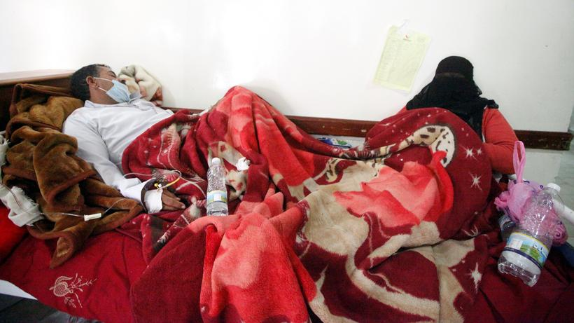 Cholera-Patienten in einem Krankenhaus im Jemen.