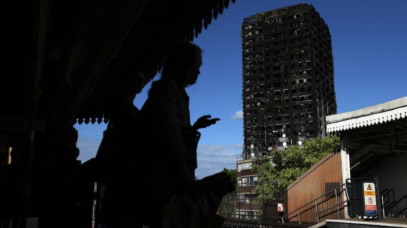 Hochhausbrand in London: Blick auf den ausgebrannten Grenfell Tower: 80 Menschen starben bei der Katastrophe.