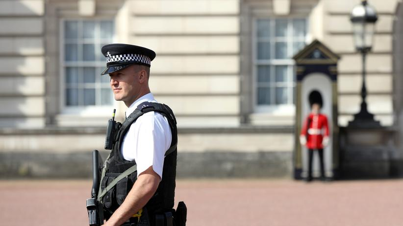 Terrorermittlungen: Soldaten hatten am Freitagabend vor dem Buckingham Palace einen Mann überwältigt, der mit einem Schwert bewaffnet möglicherweise Polizisten angreifen wollte.