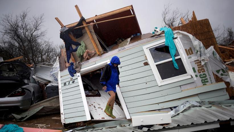 Texas: Ein vom Hurrikan zerstörtes Haus in Rockport, Texas