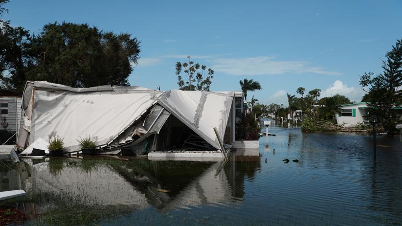 Hurrikan Irma : Von Hurrikan Irma zerstörte Häuser in Florida, USA
