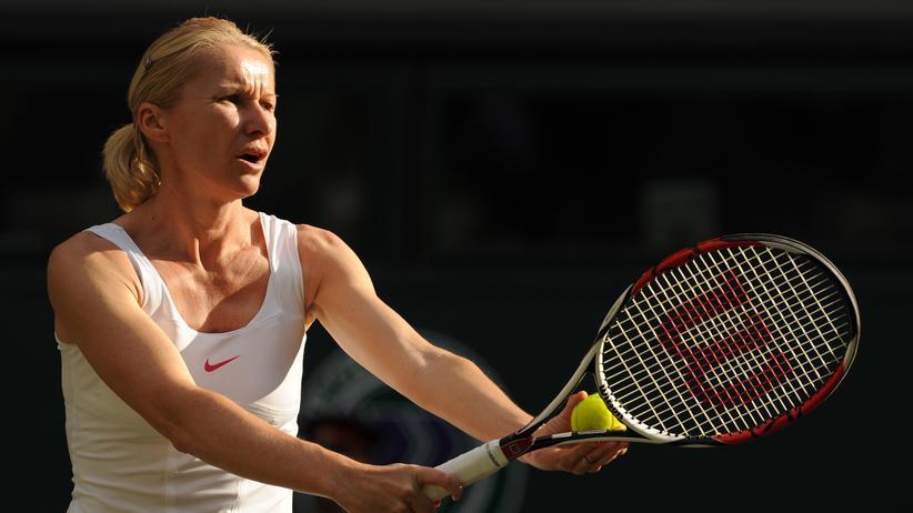 Tennisspielerin Jana Novotná in Wimbledon, England