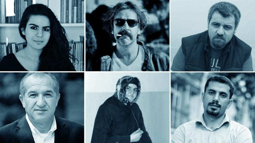 Pressefreiheit in der Türkei: Obere Reihe von links: Zehra Doğan, Deniz Yücel, Mehmet Çakmakçı; untere Reihe: Selman Keleş, Nur Ener, Mehmet Baransu