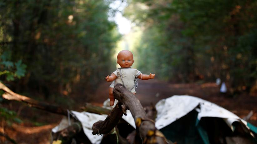 Zivilgesellschaft: Eine Puppe auf einer von Aktivisten errichteten Barrikade im Hambacher Forst