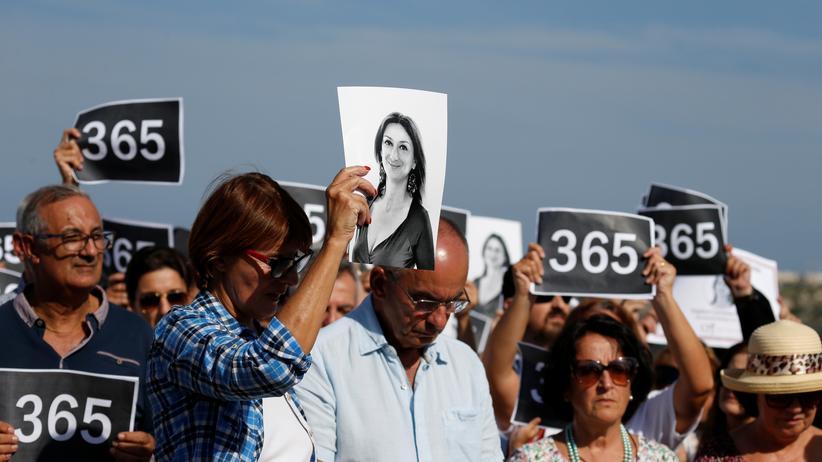 Daphne Caruana Galizia: Demonstranten am ersten Jahrestag des Mordes an Daphne Caruana Galizia