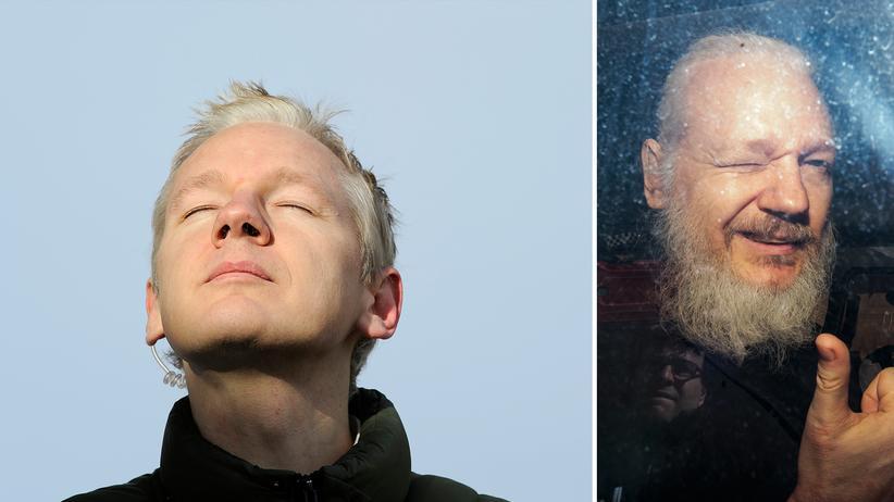 WikiLeaks: Der WikiLeaks-Gründer Julian Assange vor seiner Flucht in die Botschaft von Ecuador (2010, links) und nach seiner Festnahme in London (2019)