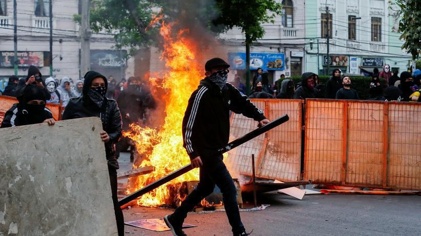 Demonstranten in Valparaiso, Chile