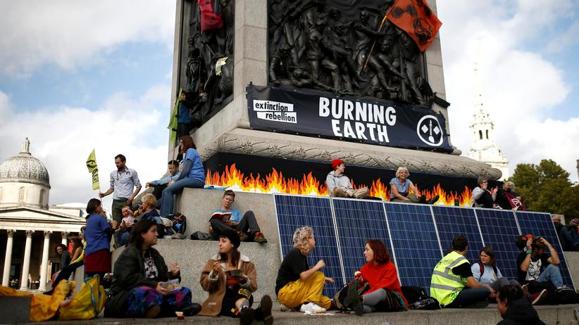 Extinction-Rebellion-Protest am Londoner Trafalgar Square