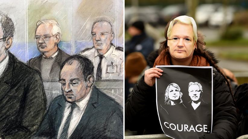 Julian Assange: Gerichtszeichnung von Julian Assange hinter der Glaswand des Gerichts und Unterstützer, die vor dem Gericht protestieren