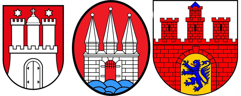 Wie oben bereits erwähnt: Unsere Leser lassen sich kein X für ein U und kein offenes für ein geschlossenes Tor vormachen. Und auch sonst sind die Unterschiede beträchtlich. Für alle Mandala-Freunde hier noch mal von links nach rechts: Das Wappen der Hansestadt Hamburg, das Wappen von Altona und das Harburger Wappen.   Und nun zur großen Preisfrage: Welches Wappen führt die ZEIT:Hamburg im Titel? Unter allen richtigen Einsendungen an elbvertiefung@zeit.de verlosen wir drei nette Überraschungen für wissbegierige Hamburger.