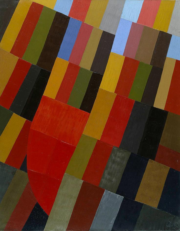 »Otto ließ beim Betreten seiner frisch renovierten Wohnung wirklich jede Freundlichkeit sausen, als er entdecken musste, was der zugegebenermaßen recht günstige Fliesenleger aus seiner in aller Eindringlichkeit geäußerten und mitnichten zweideutigen Anweisung gemacht hatte, den Boden doch bitte penibelst monochrom und symmetrisch zu gestalten.« Interpretiert von Jens Jeep  Otto Freundlich Herbstvision, 1935, ©SHK/Hamburger Kunsthalle/bpk, zu sehen in der Sammlung der Hamburger Kunsthalle im Bereich Klassische Moderne