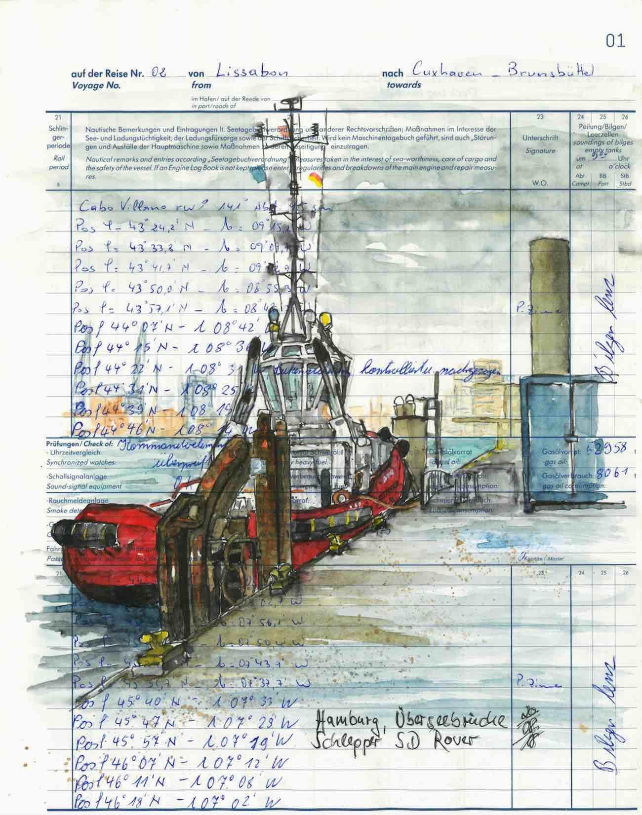 »Urban Sketchers« sind Künstler, die mit Zeichenstift und Skizzenbuch durch die Stadt streifen und ihre Eindrücke auf Papier festhalten. Diese Zeichnung stammt von Tine Beutler: »Ich zeichne mittlerweile fast alle maritimen Motive in ein altes Schiffstagebuch, das meinem Schwiegervater gehörte, der früher mal eine Reederei besaß. Geplant hatte ich an diesem Tag, die »Amerigo Vespucci« zu zeichnen. Ich wusste, dass sie um die Mittagszeit ablegt, und hatte meinen Vormittag so geplant, dass ich eine Stunde Zeit habe zu zeichnen. Leider hatte sich an dem Tag alles gegen mich verschworen. Eine Bahn verpasst, die nächste fiel aus. Als ich dann endlich an der Überseebrücke ankam, war von dem schönen Segler weit und breit nichts mehr zu sehen. Statt des schlanken stattlichen Seglers gab's dann eben einen kleinen, knuffigen Schlepper.«