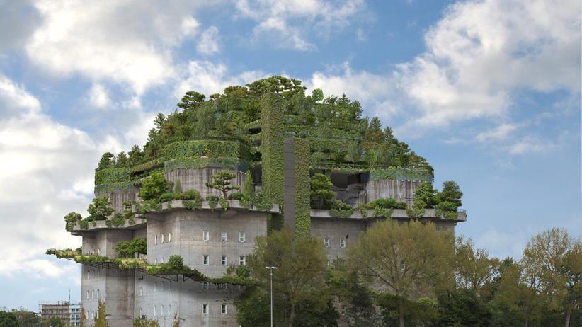 Bunker auf St. Pauli: Umstrittenes Grün: Modell vom geplanten Bunkeraufbau an der Feldstraße