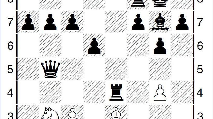 Schwarz zieht – und setzt in zwei Zügen matt. Aber wie? Wenn Sie mögen, schicken Sie die Lösung an 70jahre@zeit.de (Stichwort »Elbvertiefung!«) – unter den Einsendungen verlosen wir den allerletzten von 70 Plätzen für das Spiel gegen Schachweltmeister Magnus Carlsen am 20. Februar zum 70-jährigen Jubiläum der ZEIT.