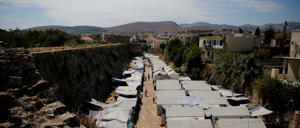 Ein Flüchtlingslager auf der griechischen Insel Chios