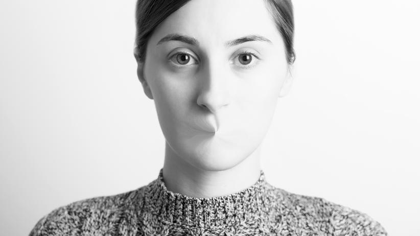 Manterruption: Black and White Woman Portrait Of Freedom Of Speech Concept