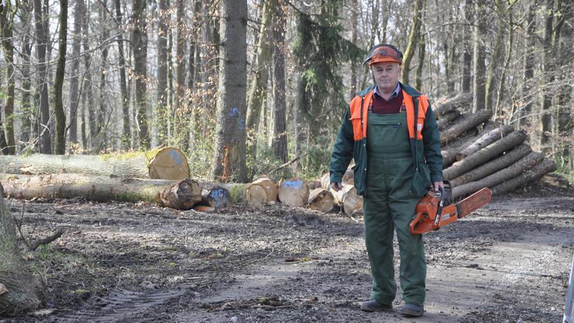 Hat sein Arbeitsleben lang schwer gearbeitet: Otto Endres in seiner Arbeitskleidung im Wald