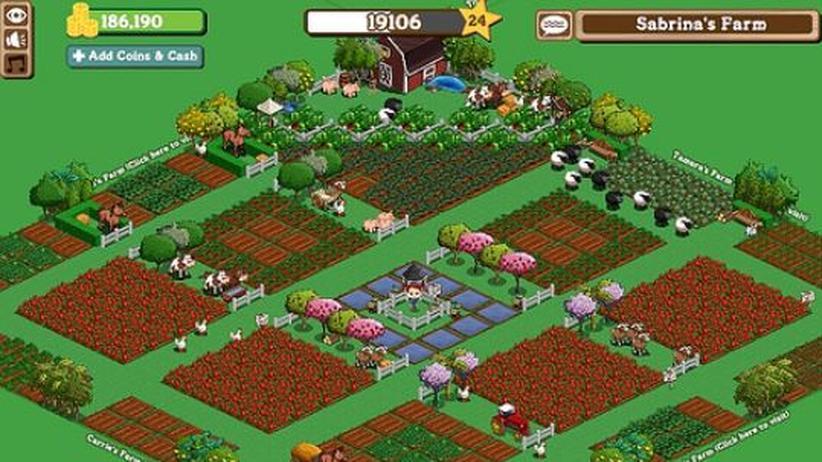 """Screenshot des Online-Spiels """"Farmville"""" der Firma Zynga."""