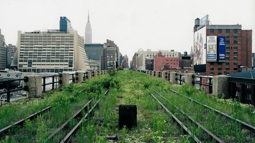 Landschaftsarchitektur in der Stadt: Das High-Line-Viadukt vor dem Umbau im Jahr 2000: eine Industrieruine, die die Sehnsucht nach Natur weckt