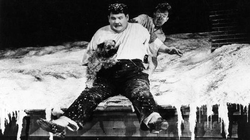 Theatersaison: Stan Laurel und Oliver Hardy, 1931, bei der Arbeit