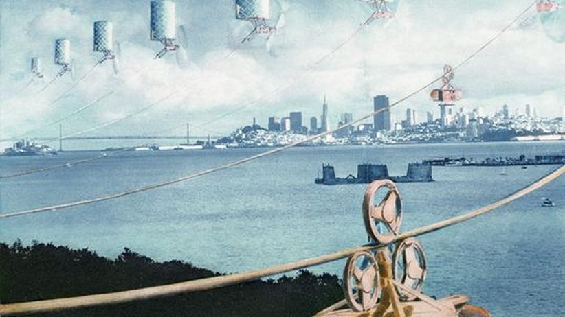 """Craig Hodgetts, """"Ecotopia"""", Blick auf die Bucht von San Francisco mit Solarkraftwerken, 1982"""