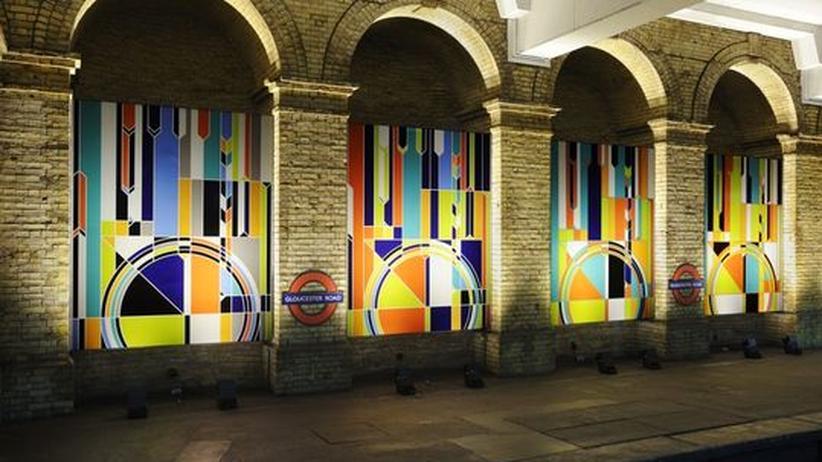 """Londoner U-Bahn: Sarah Morris' Werk """"Big Ben"""" ziert die Londoner U-Bahn-Station Gloucester Road."""