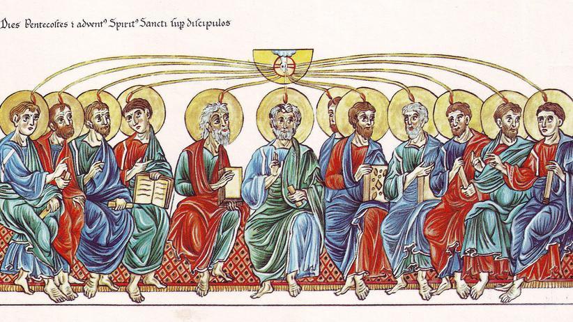 """Die Aussendung des Heiligen Geistes auf die Apostel: """"Hortus Deliciarum"""" von Herrad von Landsberg, um 1180"""