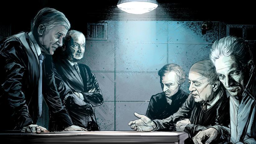 Flüchtlingspolitik: Das Personal von links nach rechts: Horst S., Martin H., Immanuel Kant, Theodor W. Adorno und Jacques Derrida